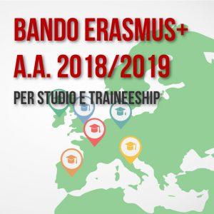 Apertura Bando Erasmus+ Studio e Traineeship A.A. 2019/19