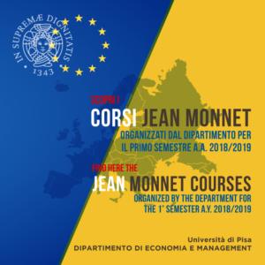 Scopri i Corsi Jean Monnet A.A. 2018/2019