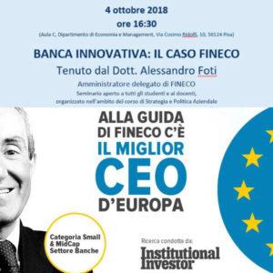 """4 Ottobre 2018: seminario """"Banca innovativa: il caso FINECO"""""""