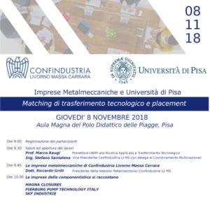 Matching di trasferimento tecnologico e placement – 8 Nov 2018, Aula Magna Polo Piagge