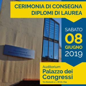 Cerimonia di Consegna dei Diplomi di Laurea – 8 Giugno 2019