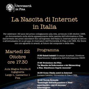 La Nascita di Internet in Italia – 22 ottobre 2019 ore 17.30