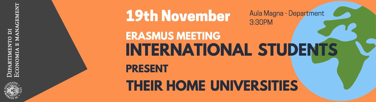 Incontro 19 Nov 2019 Erasmus Student
