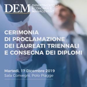 Cerimonia di Proclamazione dei laureati triennali e Consegna dei diplomi – 17 dicembre 2019