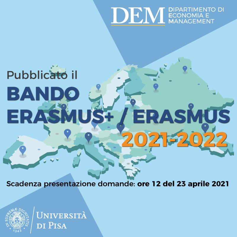 Aperto il Bando Erasmus+ per la mobilità studenti 2021/22