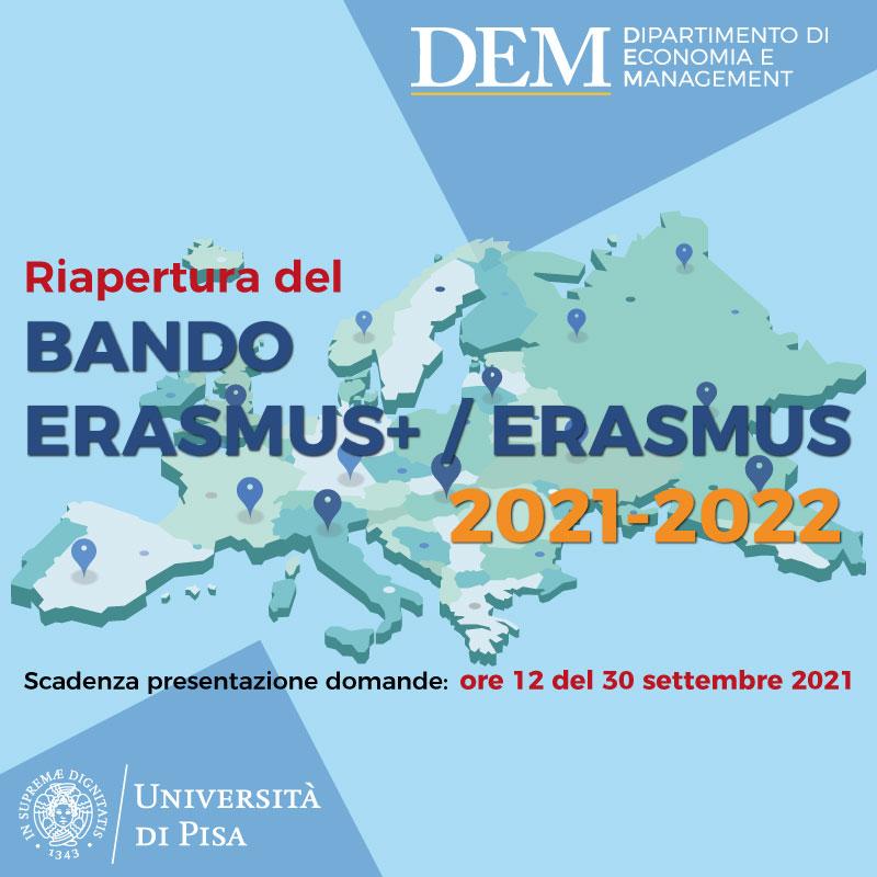 Riapertura Bando Erasmus+ per la mobilità studenti 2021/22 – NEWS e RICEVIMENTI